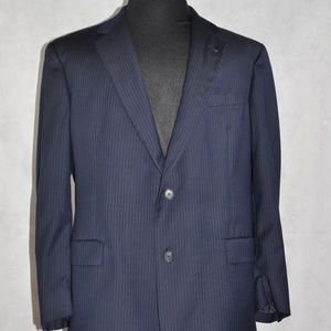 Burberry Suit Jacket Navy Blue Stripe 2 Size 46 L